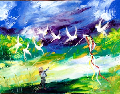 (CreativeWork) Flying High Birdies by Maria Dee. arcylic-painting. Shop online at Bluethumb.