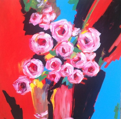 (CreativeWork) Roses Are Pink by Maria Dee. arcylic-painting. Shop online at Bluethumb.