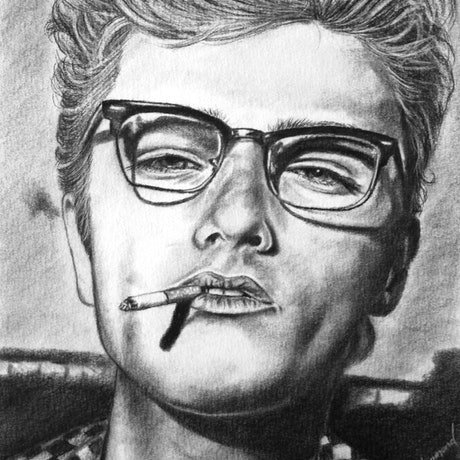 (CreativeWork) James Dean Look in his eye A3 Charcoals by Linda Hammond. Drawings. Shop online at Bluethumb.