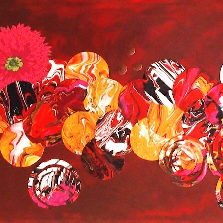 (CreativeWork) Blossom . Boho abstract flowers by Julee Latimer. Mixed Media. Shop online at Bluethumb.