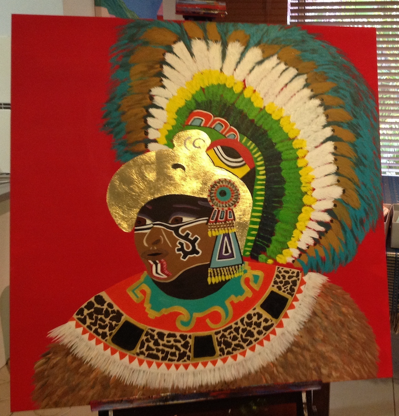 (CreativeWork) Mayan Magic by Gaye Ungermann. arcylic-painting. Shop online at Bluethumb.