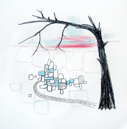 (CreativeWork) All Roads Lead To by Mona Choo. drawing. Shop online at Bluethumb.