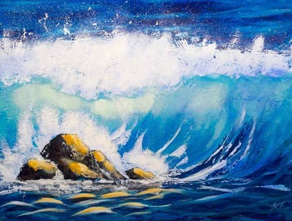 (CreativeWork) Sunlit Waves by John Taylor. arcylic-painting. Shop online at Bluethumb.