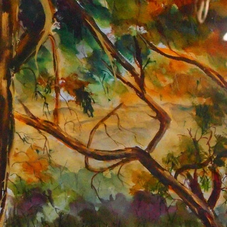 (CreativeWork) Through the Murchison Gap at Strath Creek VIC  by Margaret Morgan (Watkins). Watercolour Paint. Shop online at Bluethumb.