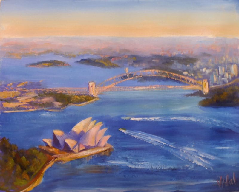 original acrylic australian landscape painting sydney harbour from