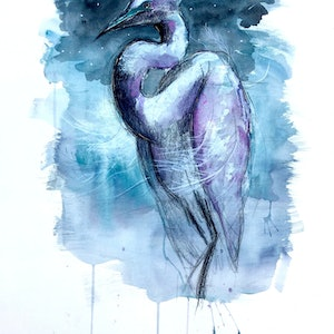 (CreativeWork) Great Egret by Jet James. mixed-media. Shop online at Bluethumb.