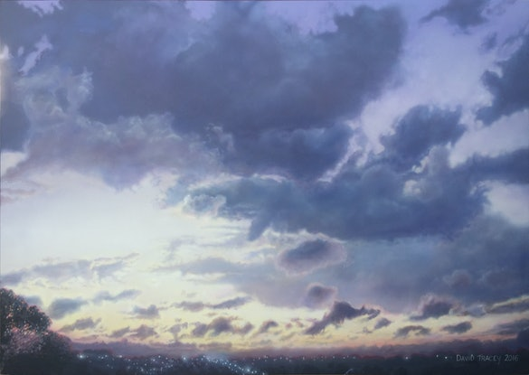 (CreativeWork) Purple After Sunset by David Tracey. Acrylic Paint. Shop online at Bluethumb.