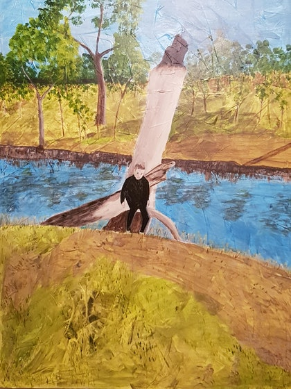 (CreativeWork) A Walk Along the River by Sonja Woodbridge. arcylic-painting. Shop online at Bluethumb.