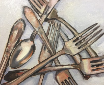 (CreativeWork) Give a fork... by Chris Martin. oil-painting. Shop online at Bluethumb.