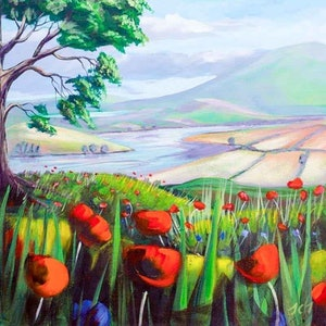 (CreativeWork) Poppies above the river by John Taylor. arcylic-painting. Shop online at Bluethumb.