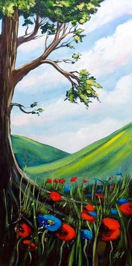 (CreativeWork) Blue and Red Poppies under the tree by John Taylor. arcylic-painting. Shop online at Bluethumb.