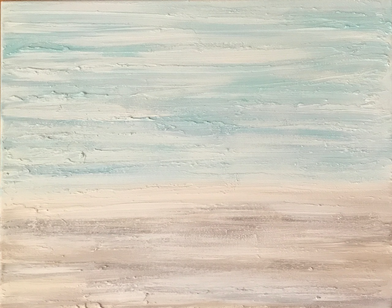 """(CreativeWork) ORIGINAL ABSTRACT ART PAINTING ON STRETCHED CANVAS  """"DEMURE COAST"""" BLUE TURQUOISE WHITE SAND BEIGE  by Debra Ryan. mixed-media. Shop online at Bluethumb."""