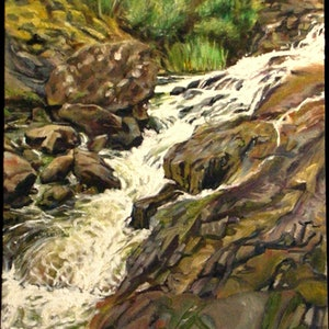 (CreativeWork) Myrtle Falls, Tasmania by Raymond Wittenberg. oil-painting. Shop online at Bluethumb.