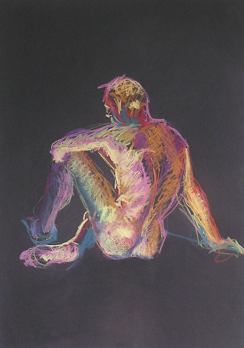 (CreativeWork) Life Drawing - Man Sitting - Colour by Ishbel Morag Miller. drawing. Shop online at Bluethumb.