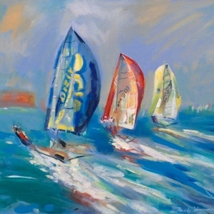 (CreativeWork) Yacht Parade by Gennady Veremeenko. acrylic-painting. Shop online at Bluethumb.