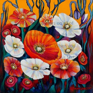 (CreativeWork) IceLand Poppies #1 by Susan Cunningham Vibrant Expressions. oil-painting. Shop online at Bluethumb.