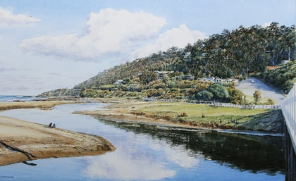 (CreativeWork) Wye River on the Great Ocean Road by Francis McMahon. watercolour. Shop online at Bluethumb.