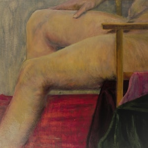 (CreativeWork) Man in Chair by Cinzia (Syndy) Esteves. oil-painting. Shop online at Bluethumb.