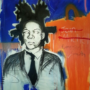 (CreativeWork) Excuse me Mr. Basquiat by Sam Patterson-Smith. mixed-media. Shop online at Bluethumb.