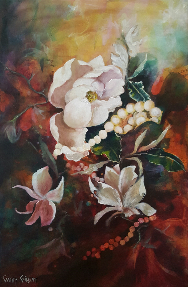 (CreativeWork) Nature's Offerings  by Cathy Gilday. mixed-media. Shop online at Bluethumb.