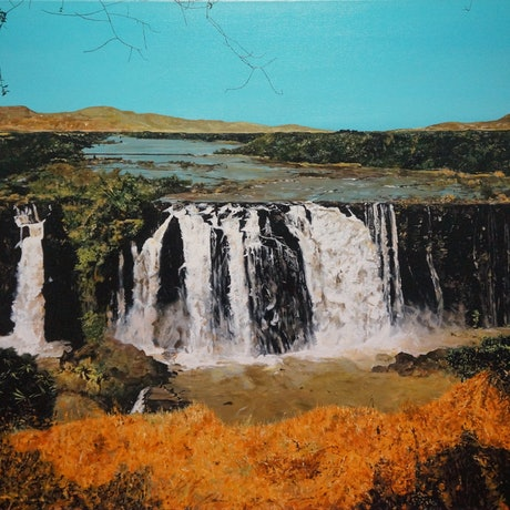 (CreativeWork) Blue Nile Falls by Jeremy Elkington. Oil Paint. Shop online at Bluethumb.