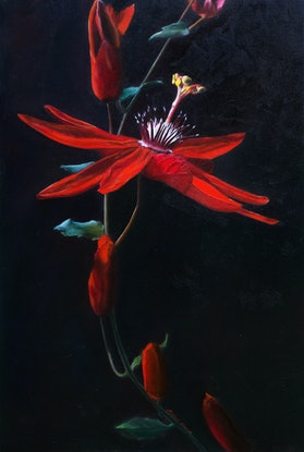 (CreativeWork) Passion flower by Elena Valerie. Oil Paint. Shop online at Bluethumb.