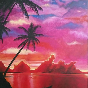 (CreativeWork) Thai sunset by Emma cameron. arcylic-painting. Shop online at Bluethumb.