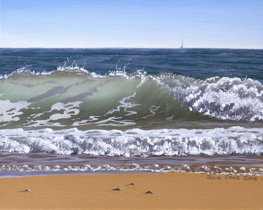 (CreativeWork) Wave Study 5 by Julie Cane. Oil Paint. Shop online at Bluethumb.