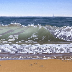 (CreativeWork) Wave Study 5 by Julie Cane. oil-painting. Shop online at Bluethumb.