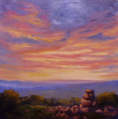 (CreativeWork) An original oil on canvas of Sunset sky by Christopher Vidal. Oil Paint. Shop online at Bluethumb.