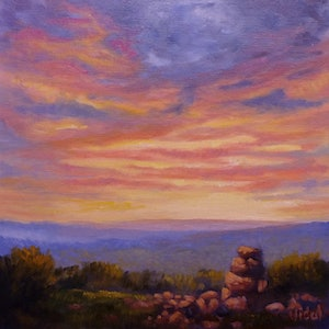(CreativeWork) An original oil on canvas of Sunset sky by Christopher Vidal. oil-painting. Shop online at Bluethumb.