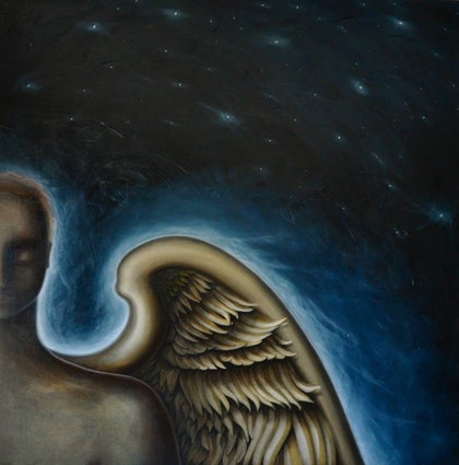 (CreativeWork) MY ANGEL by Shravaka Woods. oil-painting. Shop online at Bluethumb.