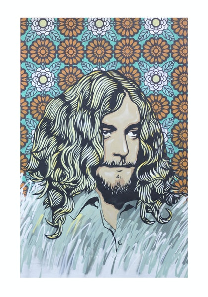 (CreativeWork) ROBERT PLANT by A U S T I N N I T S U A. arcylic-painting. Shop online at Bluethumb.