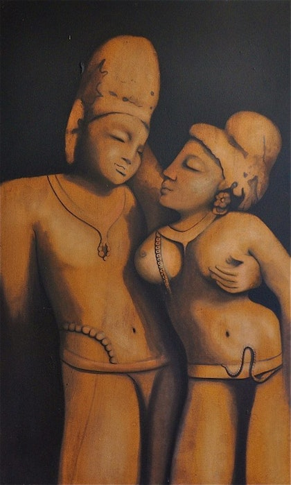 (CreativeWork) TEMPLE  LOVERS by Shravaka Woods. mixed-media. Shop online at Bluethumb.