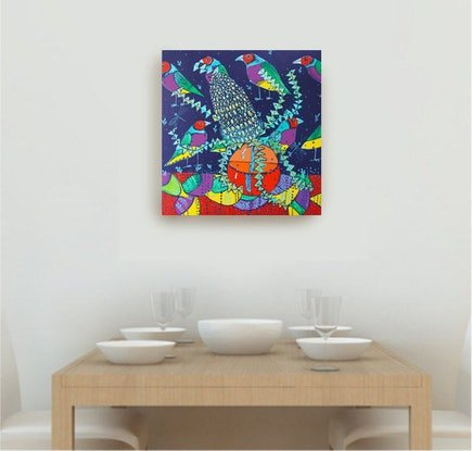(CreativeWork) Banksia and Birds by Katerina Apale. Acrylic Paint. Shop online at Bluethumb.