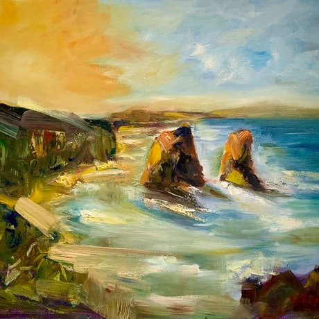 (CreativeWork) Two Saints by Kryssy Byrne. Oil Paint. Shop online at Bluethumb.