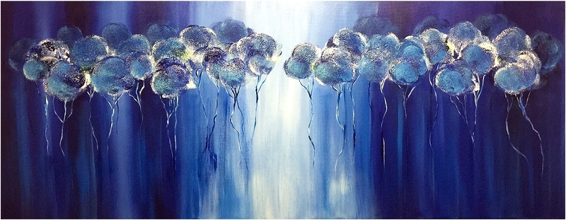(CreativeWork) Trees of Azul (151cm long) by Kat Las. arcylic-painting. Shop online at Bluethumb.