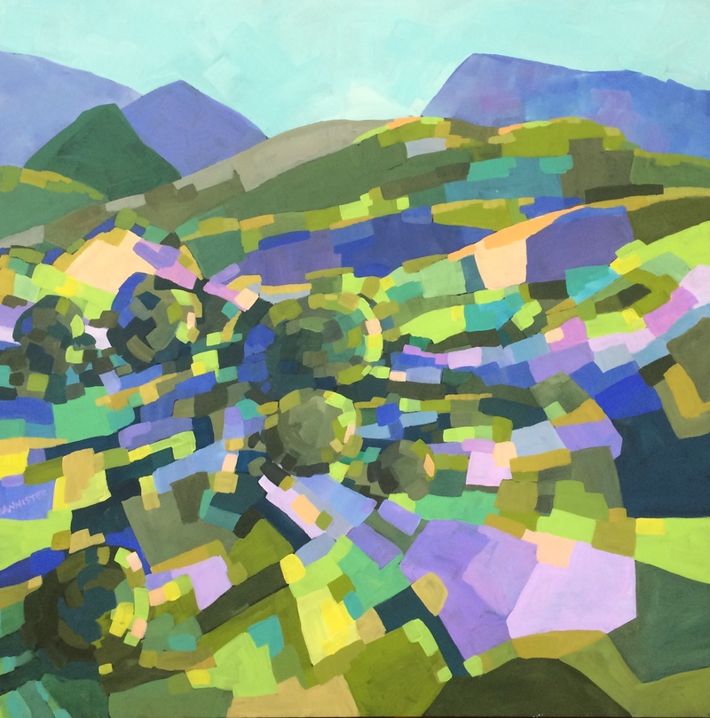 (CreativeWork) Patchwork landscape 4 by sue bannister. arcylic-painting. Shop online at Bluethumb.