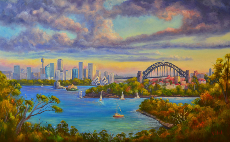 (CreativeWork) Sydney Harbour from Taronga by Christopher Vidal. oil-painting. Shop online at Bluethumb.
