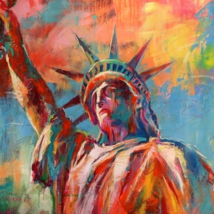 (CreativeWork) Statue of Liberty by Jos Coufreur. arcylic-painting. Shop online at Bluethumb.
