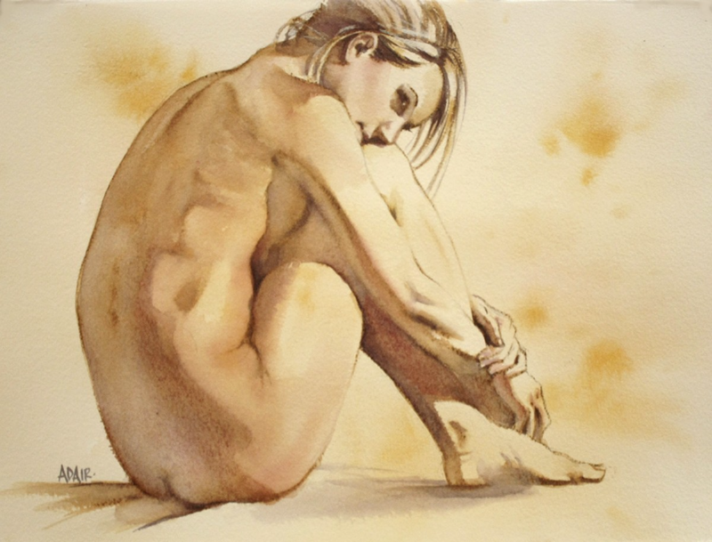 "(CreativeWork) ""Thoughtful"" by Pauline Adair. watercolour. Shop online at Bluethumb."