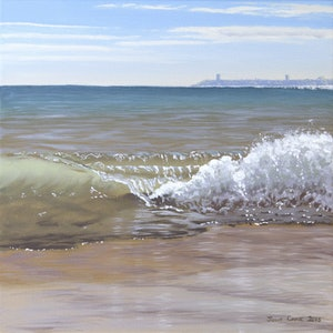 (CreativeWork) Wave Study 3 by Julie Cane. oil-painting. Shop online at Bluethumb.