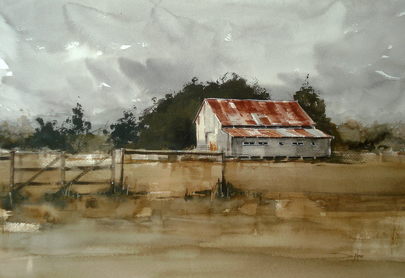 (CreativeWork) The Shed by Dylan Shearsby. watercolour. Shop online at Bluethumb.