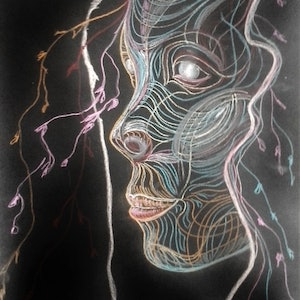 (CreativeWork) indexical mask drawing 1 of 2 by Cinzia (Syndy) Esteves. drawing. Shop online at Bluethumb.