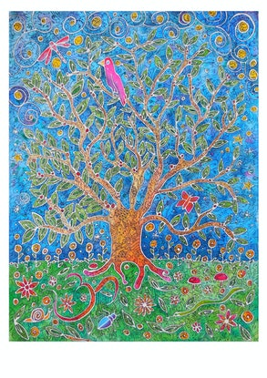 (CreativeWork) Tree of Wisdom and Knowledge by Mishy Rowan. Watercolour Paint. Shop online at Bluethumb.