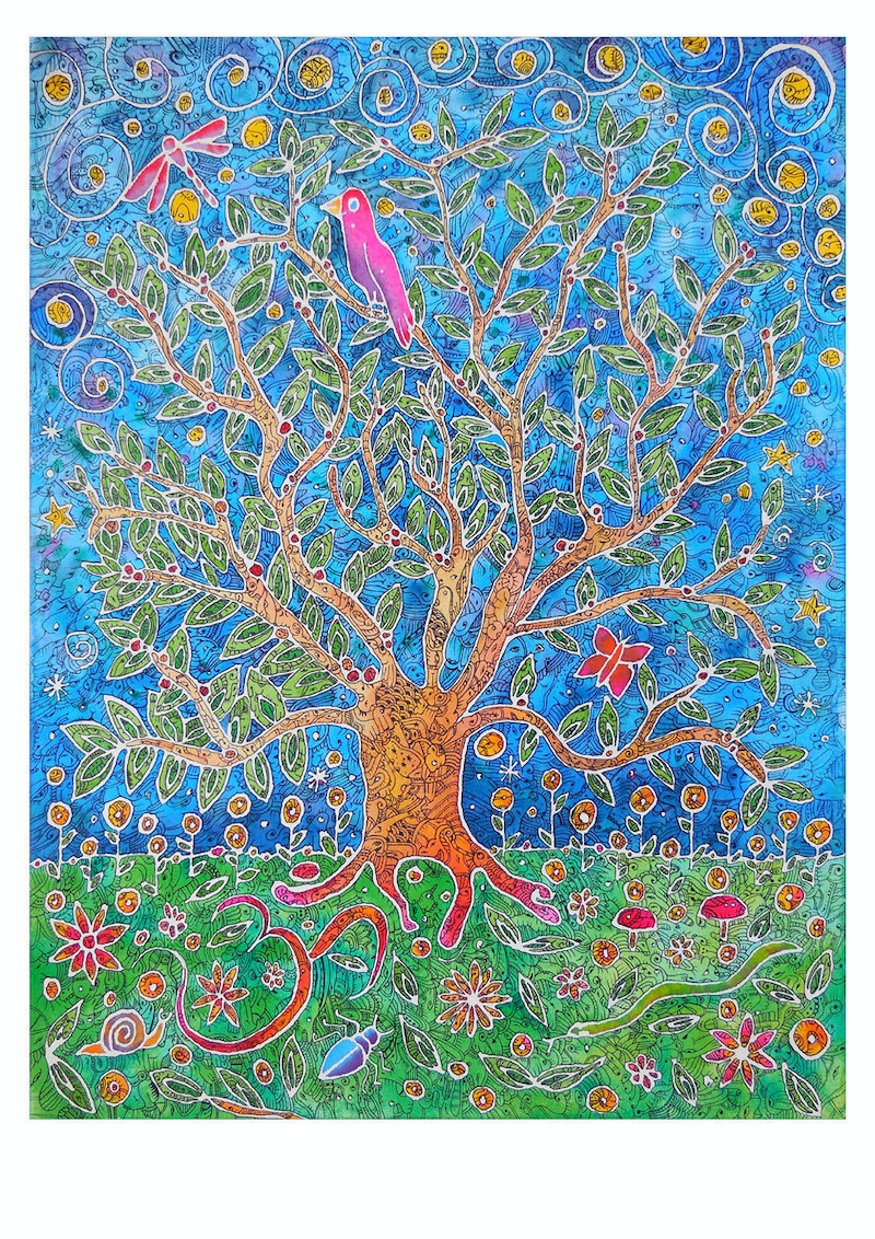 (CreativeWork) Tree of Wisdom and Knowledge by Mishy Rowan. watercolour. Shop online at Bluethumb.