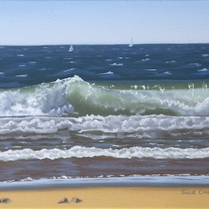 (CreativeWork) Wave Study 8 by Julie Cane. oil-painting. Shop online at Bluethumb.