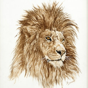(CreativeWork) Once Were Kings - African Lion by Dario Zanesco. acrylic-painting. Shop online at Bluethumb.