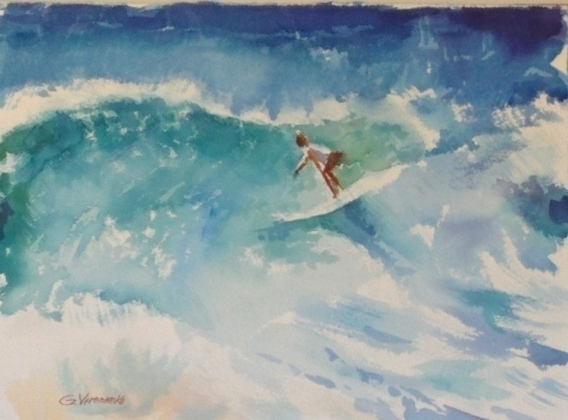 (CreativeWork) Surf by Gennady Veremeenko. watercolour. Shop online at Bluethumb.