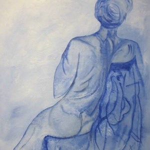 (CreativeWork) Blue Man by Janette Newman. acrylic-painting. Shop online at Bluethumb.